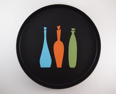 Mid-Century Modern inspired tray created using stencil 4033-8 Decanters.