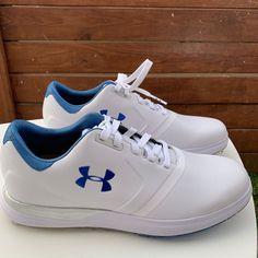 e835331b394 Under Armour Women s UA Performance Spikeless Golf White Blue Shoes Size 10  NEW  UnderArmour Spikeless