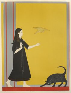 Youth | lithograph of child and cat, 1970 | Will Barnet