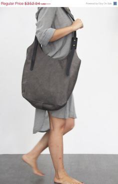 Dark grely leather bag- Soft leather bag - Cross body leather bag-Maxi Bag