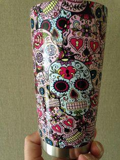 Hydro Dipped Red Sugar Skull Oz Yeti Cup Bayou City - Sugar skull yeti cup
