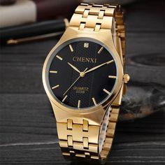 Buy CHENXI Wristwatches Gold Watch Men Watches Top Brand Luxury Famous Male Clock Golden Steel Wrist Quartz Watch Relogio Masculino at Wish - Shopping Made Fun Cheap Watches, Watches For Men, Wrist Watches, Men's Watches, Trendy Fashion, Womens Fashion, Fashion Trends, Star Fashion, Fashion Ideas