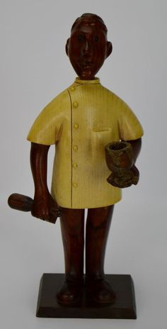 Rare Vintage ROMER WOOD CARVED Pharmacist Statue MADE IN ITALY Mid-Century