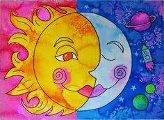 Here's a fun lesson plan on using warm and cool colors in a watercolor painting. Don't forget the salt! Watch for my next post of what my awesome 3rd graders did!  #painting, #watercolor, #sun, #moon, #colorful, #warmandcool, #elementaryart, #artteachersofinstagram, #kidart, #arteducation, #homeschool, #art, #space, #learning