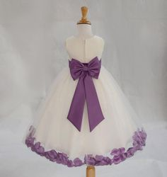 IVORY/ Wisteria  (picture) Beautiful and Puffy Flower girl dress 20 different sash flower colors bridemaid wedding elegant party 302an