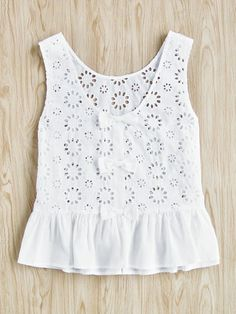 SheIn offers Bow Embellished Tiered Hem Eyelet Embroidered Top & more to fit your fashionable needs. Kurta Designs, Blouse Designs, Kids Dress Wear, Kids Outfits, Cute Outfits, Baby Dress Design, Handmade Baby Clothes, Kids Fashion, Fashion Outfits