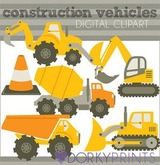 Construction Vehicles Digital Clip Art Set -Personal and Commercial- Bulldozer, Cement Truck, Construction, Dump Truck