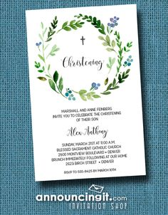 Blue Buds Wreath Baby Boy Christening Invitations or change the wording and use as Baby Boy Baptism invitations - See the entire collection at Announcingit.com