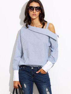 Blusa rayas hombro asimétrico puño combinado - azul-Spanish SheIn(Sheinside)