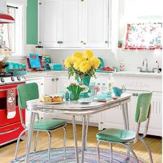 Aqua and red kitchen. So much to love.