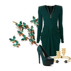 """petrol balmain dress"" by ria-kostopoulou on Polyvore"
