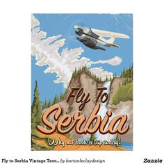 Shop Fly To Serbia Cartoon Travel poster Postcard created by bartonleclaydesign. Vintage Travel Posters, Vintage Postcards, Poster Vintage, Serbia Travel, Canada National Parks, Tourism Poster, National Park Posters, Pencil Art Drawings, Cartoon