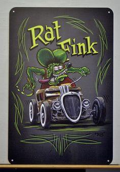 "Rat Fink Rat Rod, Ed ""Big Daddy Roth"" hot rod art, garage art, Pinstriping art… Rat Fink, Rat Rods, Ed Roth Art, Retro, Pinstripe Art, Monster Car, Rockabilly, Fu Dog, Garage Art"