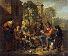 Peasants Playing Cards by Norbert van Bloemen