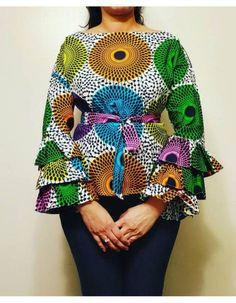Long Ankara Dresses, African Dresses For Kids, African Fashion Skirts, African Print Dresses, African Print Fashion, African Wear, African Tops, Ankara Blouse, Ankara Tops