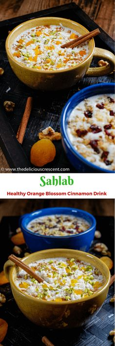 This Sahlab is a healthy and delicious beverage flavored with orange blossom and cinnamon. It is SO creamy. Hot or cold, it is so soothing and refreshing!! This is an adapted version of the popular middle eastern beverage and made with barley, dates, honey, walnuts etc.