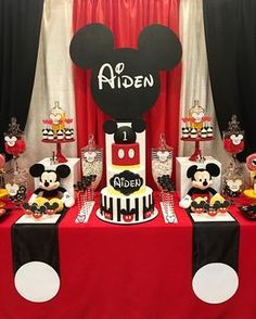 """273 Likes, 1 Comments - Rachel Nvard Jingozian (@racheljspecialevents) on Instagram: """"A closer look at our Mickey Mouse themed dessert table for Aiden's 1st birthday 