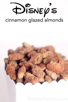 Disney's Candied Cinnamon Almonds Recipe, just like the one's you'll find on Main Street in Disneyland! Sweet Recipes, Dog Food Recipes, Snack Recipes, Dessert Recipes, Cooking Recipes, Candy Recipes, Almond Recipes, Glazed Almonds Recipe, Gastronomia