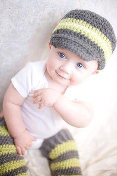 Sweet boy! Crochet Newsboy Hat From Vine Street Goods