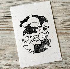 Linocut Valentines Print - Postcard size- Dogs Card
