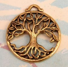 Tree Of Life Pendant Antique Gold AG194 by FabBeads on Etsy, $3.25
