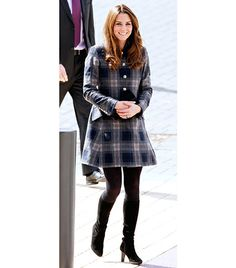 Plaid  Middleton's looks every bit the lady in a fit-and-flair Moloh tartan coat, opaque tights, and understated boots.