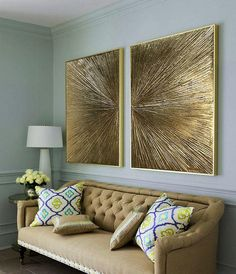 Gold Leaf Art Abstract Painting Abstract Gold Painting diptych