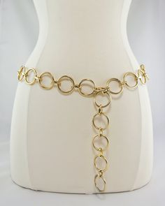 """1960s Gold Circle Chain Belt.We wore these with our """"shift"""" dresses."""