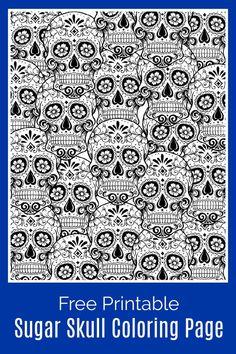 Sugar Skull Coloring Page #FreeColoringPage #DayOfTheDead #DiaDeLosMuertos