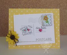 A card I created using the YNS stamp set Small Post Card with matching die's.
