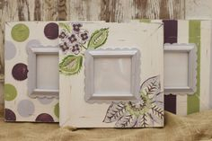 Distressed Picture Frames SET of 3 -5x5's for Nursery in Lavender and Apple
