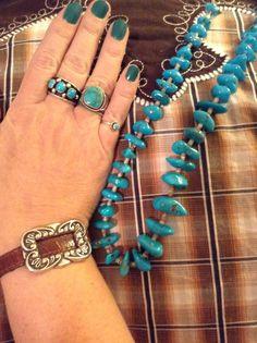 Vintage turquoise bead necklace. Brighton leather bracelet. Cluster turquoise ring from Denver Museum of Nature&Science. Morenci turquoise ring by Gary Reeves at High Desert Turquoise. Little turquoise ring from Dicks Rock Shop, Fountain, CO.