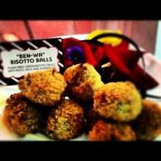 Ben-Wa Risotto Balls at our 50 Shades of Grey Party Flash Fried Risotto Balls with Pesto and Peas Noooooooooooooooooooooooo! Birthday Party Celebration, 50th Birthday Party, Risotto Balls, Fruit Skewers, Bachlorette Party, 50 Shades Of Grey, Heart For Kids, Party Drinks, Theme Ideas