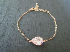 Rose Gold Swarovski Crystal Bracelet/Rose Gold Bracelet/Rose Gold Bridesmaid Jewelry/Swarovski Bracelet/ RosalineCrystal/Bridesmaid Bracelet