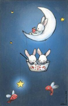 sweet moon #bunnies