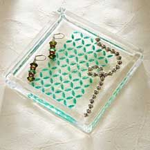 Mod Podge Rocks! Stenciled Clear Organizing Dish - click to see this and learn about the new product!