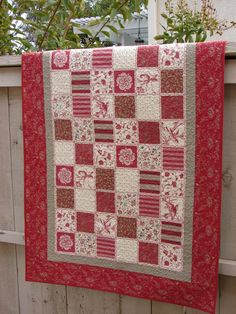 TABLE TOPPER QUILTED for sale homemade Home Decor/' Table Runner or Wall Hanging French General Moda fabrics Red for sashing and boraders