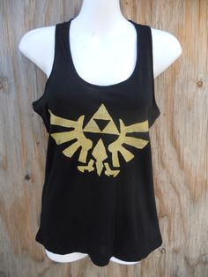 Legend of Zelda Triforce Eagle black Racerback tank. $20.00, via Etsy.    .....yes