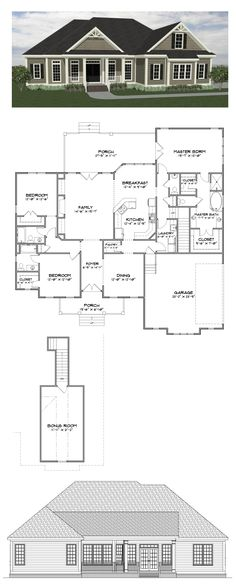 Plan SC-2282: 3 bedroom 3.5 bath home with 2282 heated square feet (bonus room adds 279 sf). This plan along with many others is available for purchase online at stevecoxinc.net - All plans are available now, please contact us for more information.