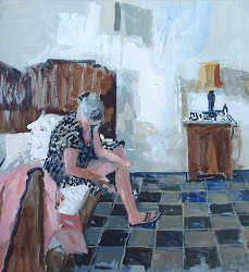 Hotelkamer | schilderij van een vrouw in aquarel van Herman van Hoogdalem | Exclusieve kunst online te koop in de webshop van Galerie Wildevuur