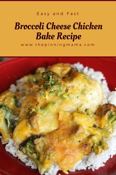 Easy and Fast Broccoli Cheese Chicken Bake Recipe Easy Baked Chicken, Baked Chicken Recipes, Recipe Chicken, Chicken Broccoli Cheese, Chicken Broccoli Casserole, Broccoli Recipes, Turkey Recipes, Chicken Breakfast, Boneless Chicken Breast