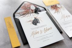 Rich warm Autumnal tones are beautiful accented by metallic foil and a statement black envelope with matching liner. Making Wedding Invitations, Wedding Stationery, Black Envelopes, Mo S, Save The Date Cards, Autumnal, Metallic, Warm, Elegant