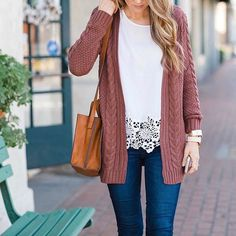 Love the white top and cardigan. Transition into spring just like We love that you paired a cut-out floral blouse with your mauve-lous cardigan. Mode Outfits, Casual Outfits, Pretty Outfits, Passion For Fashion, Dress To Impress, Stitch Fix, Autumn Winter Fashion, Spring Outfits, Style Me