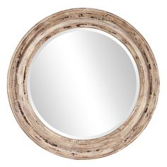 Howard Elliott 36 in. x 36 in. Maisey Rustic Round Mirror 92115 - The Home Depot Large Round Mirror, Circular Mirror, Round Wall Mirror, Beveled Mirror, Round Mirrors, Mirror Mirror, Mirror Ideas, Round Frame, Mantel Mirrors