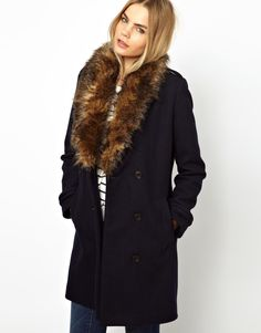 Pea Coat with FAUX fur trim