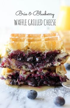 Grilled cheese sandwich made out of waffles, blueberries, and brie cheese. Brie and Blueberry Waffle Grilled Cheese Breakfast And Brunch, Sunday Brunch, Camping Breakfast, Vegan Breakfast, Waffle Recipes, Brunch Recipes, Sandwich Recipes, Breakfast Recipes, Breakfast Sandwiches