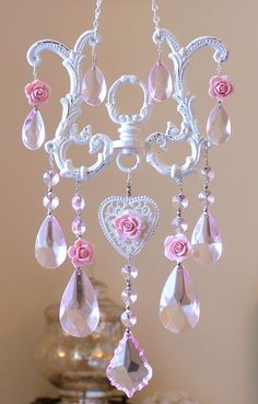 Beautiful Heart  Roses & Crystals Suncatcher-porcelain magnets, roses, pink, lilac,suncatcher, crystals,