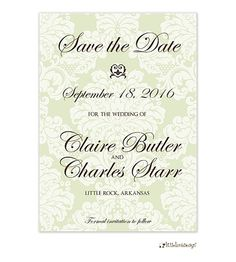 Delicate Damask Save The Date Card