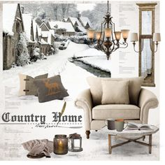 Country Home by nyrvelli on Polyvore featuring interior, interiors, interior design, home, home decor, interior decorating, Barclay Butera, Denby, William Edwards and GO Home Ltd.