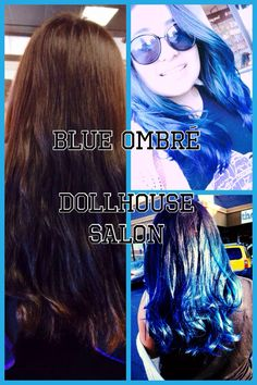 Blue ombré, blue hair by Angel Delao @ dollhouse salon